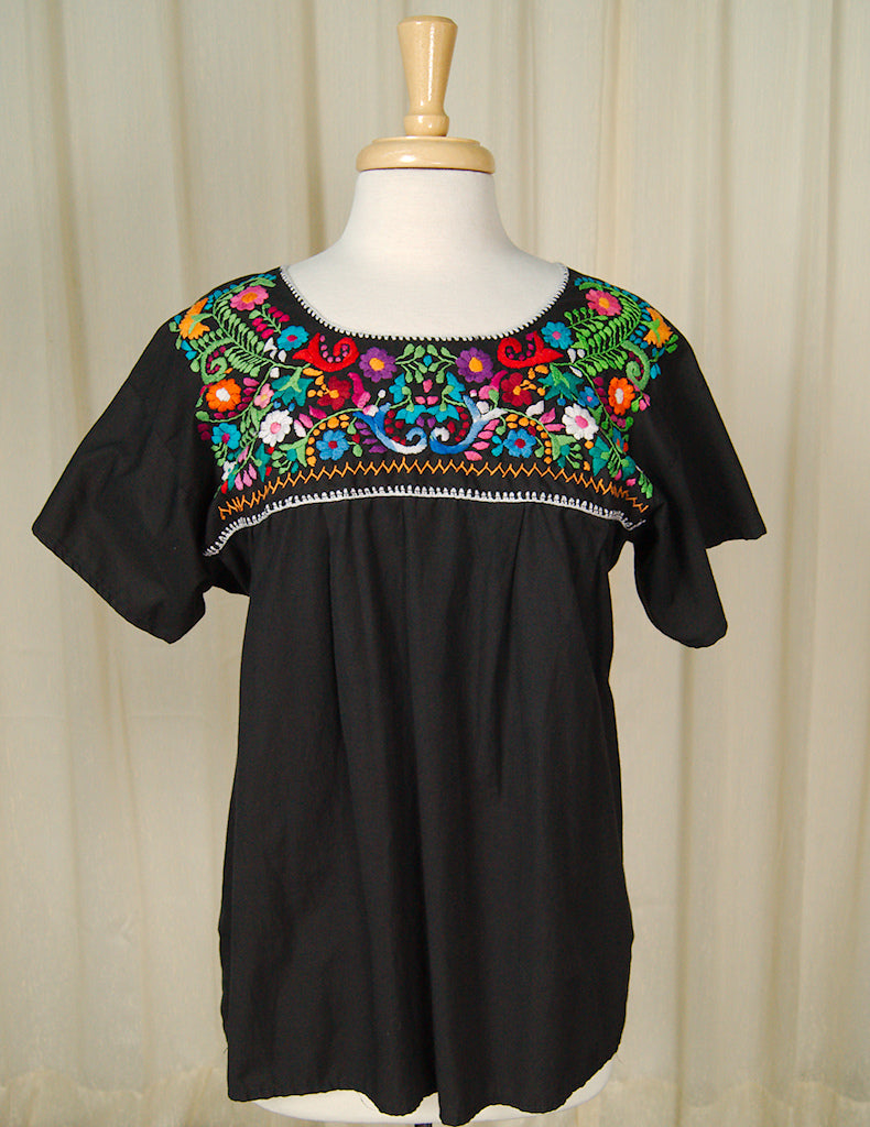 1960s Embroidered Peasant Top by Cats Like Us - Cats Like Us