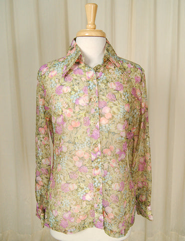 1960s Fruit Blouse Shirt