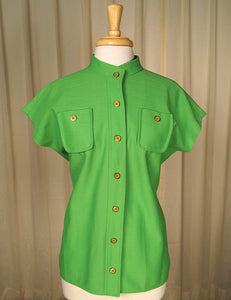1960s Lime Green Button Top by Cats Like Us - Cats Like Us