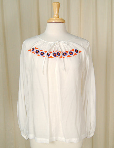 1960s Long Sleeve Peasant Top