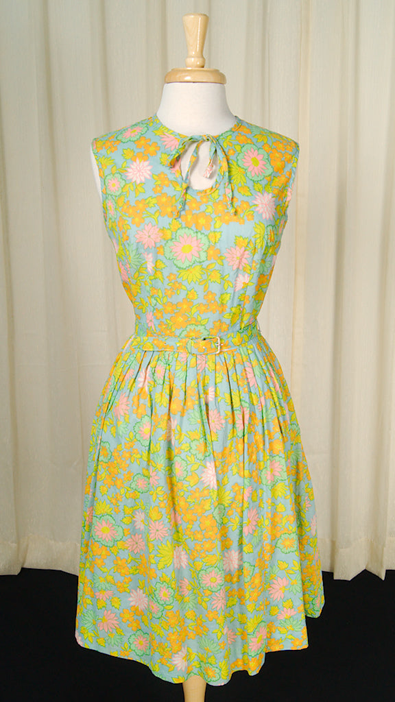 1960s Neon Floral Dress by Cats Like Us - Cats Like Us