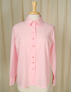 1960s Pink Long Sleeve Blouse