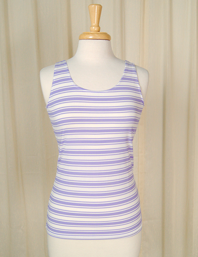 1960s Purple Striped Tank Top by Cats Like Us - Cats Like Us