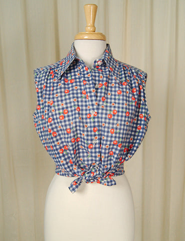 1960s Sleeveless Cherry Blouse