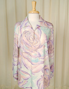 1960s Watercolor Roses Blouse