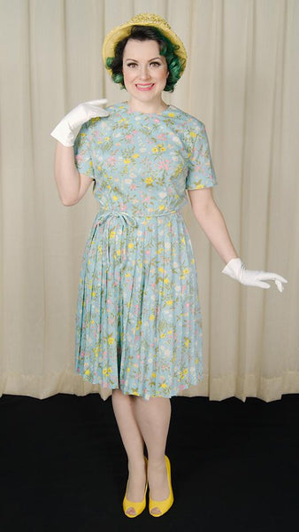 1950s Floral Pleated Dress by Cats Like Us - Cats Like Us