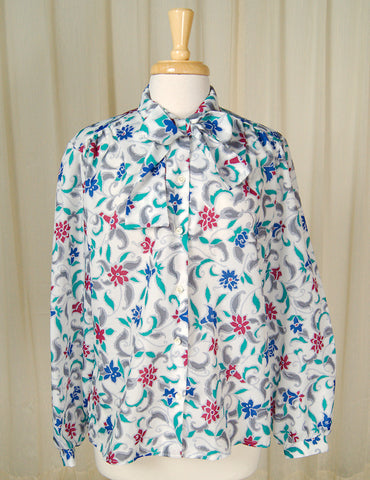 80s does 1940s Flora Bow Blouse
