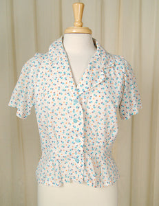 80s does 1940s Floral Blouse