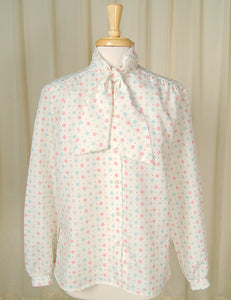 80s does 1940s Lines Bow Blouse