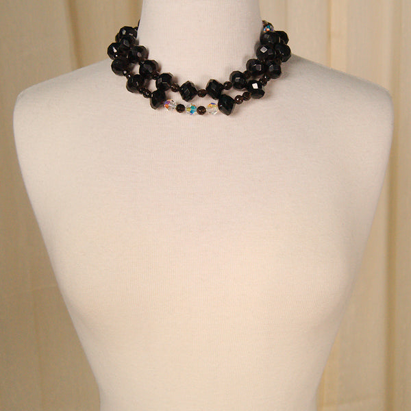 Double Black & Crystal Necklace by Vintage Collection by Cats Like Us : Cats Like Us