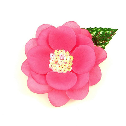 Hot Pink Sequin Hair Flower by Cats Like Us : Cats Like Us