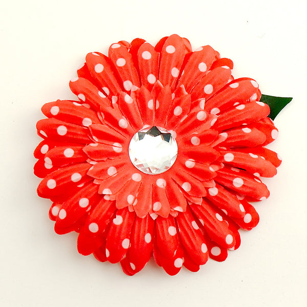 Red Dot Daisy Hair Flower by Cats Like Us : Cats Like Us