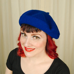Royal Blue Wool Beret Hat by Cats Like Us : Cats Like Us