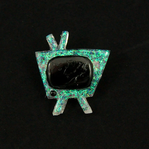 White Atomic Retro TV Brooch - Cats Like Us