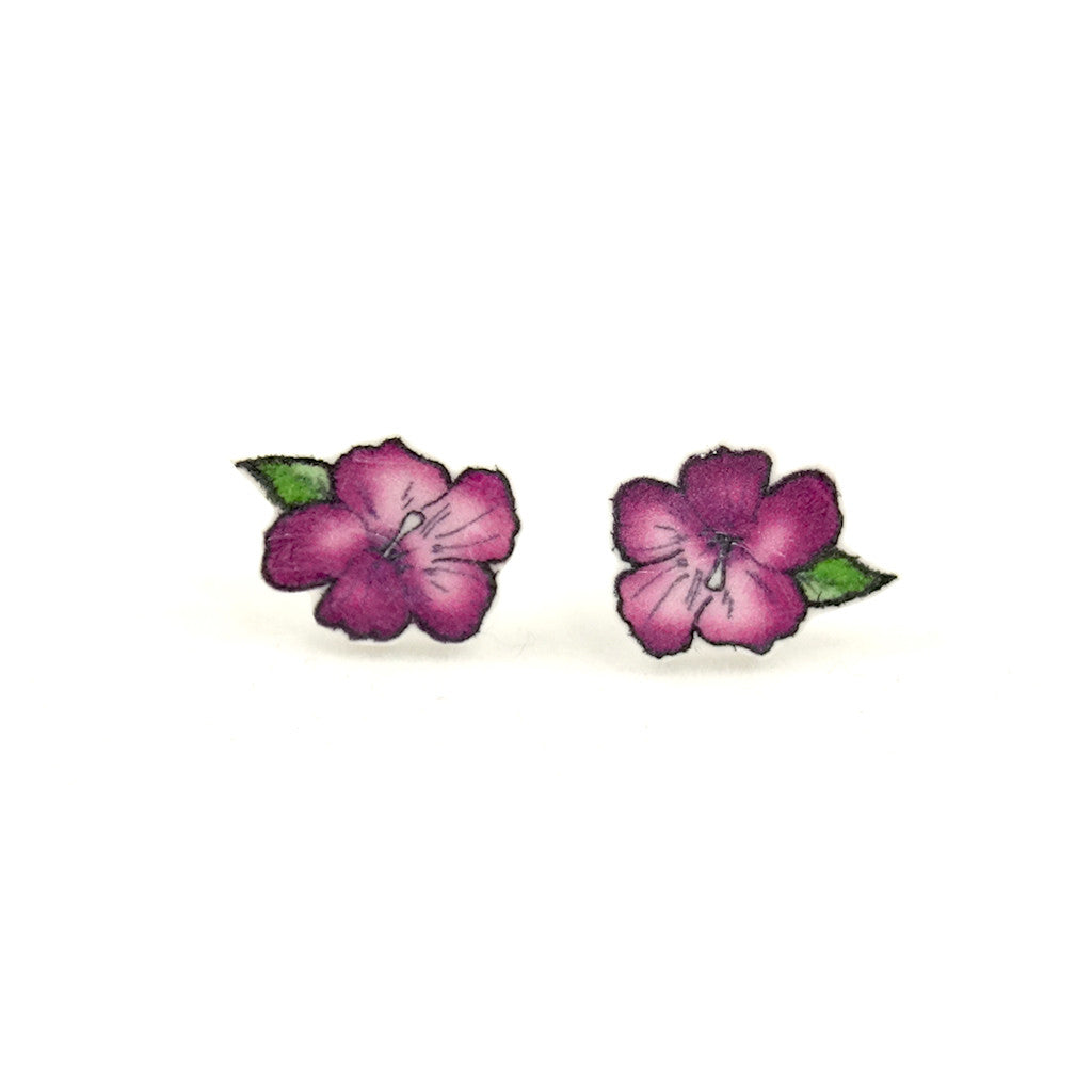 Purple Hibiscus Flower Earrings by House of Wonderland : Cats Like Us
