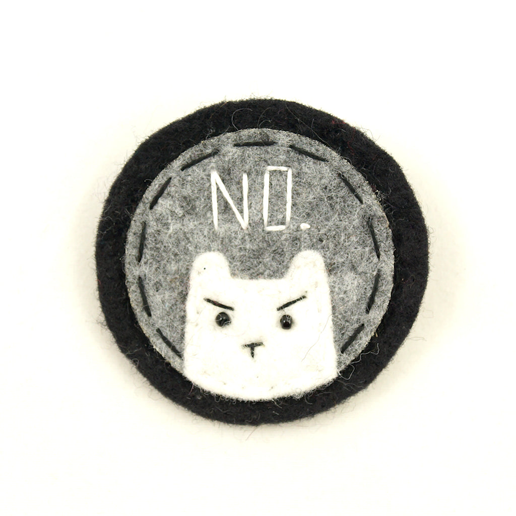 Grey and White NO Kitty Brooch by Lumpy Buttons : Cats Like Us