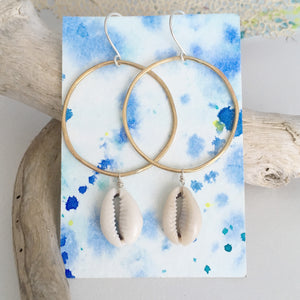 Cowries-on-Handcrafted-Brass-Hoops-with-Sterling-Silver-Earwires