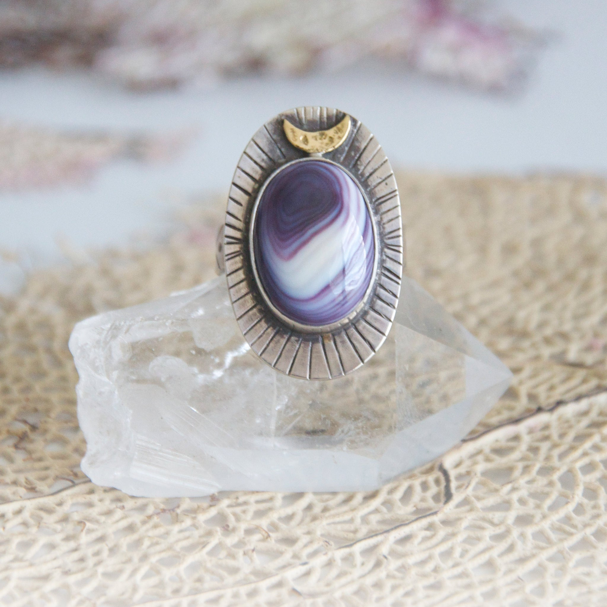 Wampum-Moontide-Ring-with-Handstamped-Detail-and-Crescent-Moon