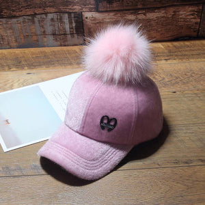 Parent-child caps Child Hip Hop Baseball Cap Wo fake fur hair ball kids Winter Hat Boys Girls solid snapback Caps
