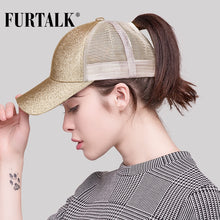 Load image into Gallery viewer, 2018 Dropshipping Ponytail Baseball Cap Women Messy Bun Baseball Hat Snapback HTPU009