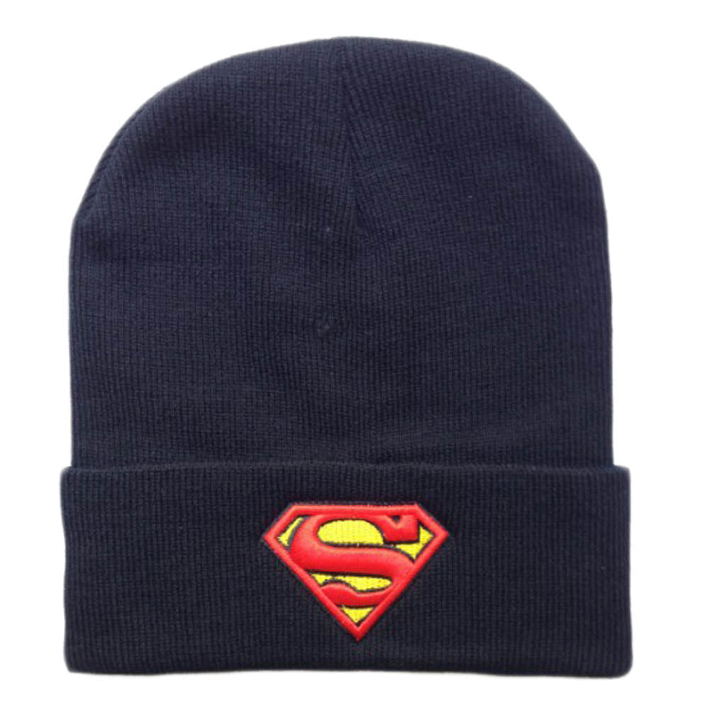 Hot 2016 New Fashion Winter Embroidered Beanie Hat Superman Batman Knitted Hat For Women Men Sports Warm Batman Wo cap Hats