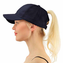 Load image into Gallery viewer, Solid Baseball Caps for Women Men Adjustable Polyester Snapback Hat Hip-Hop Mesh Cap in Blue Hot Pink Khaki Navy Wine Red White