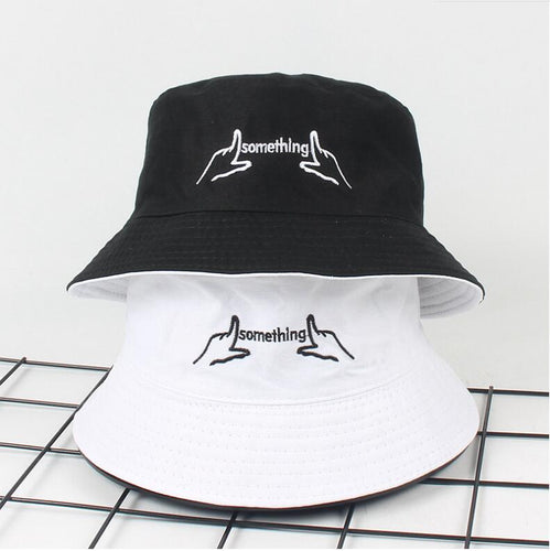Two Side Reversible black white Bucket Hat men women Chapeau Personal finger embroidery Bob Caps Beach panama hat for summer