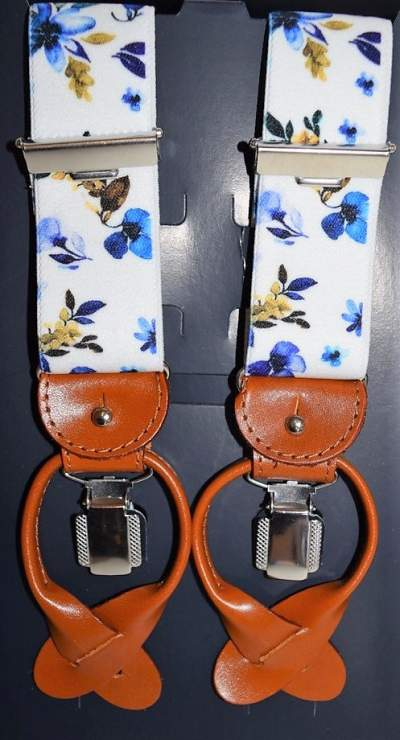 Blue braces with flowers Profuomo