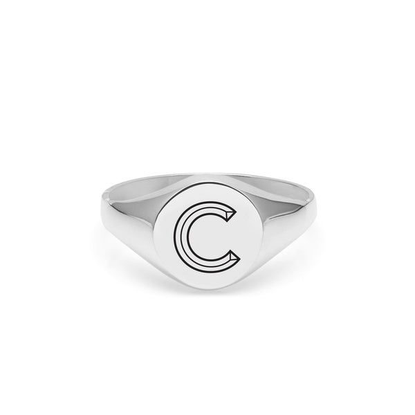 Facett Initial C Round Signet Ring - Silver - Myia Bonner Jewellery