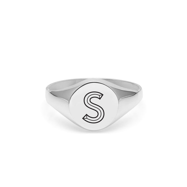 Facett Initial S Round Signet Ring - Silver - Myia Bonner Jewellery