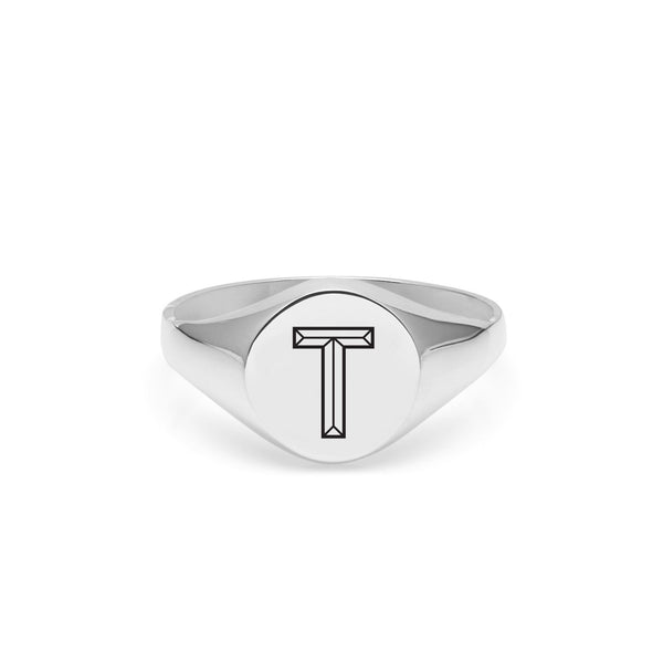 Facett Initial T Round Signet Ring - Silver - Myia Bonner Jewellery