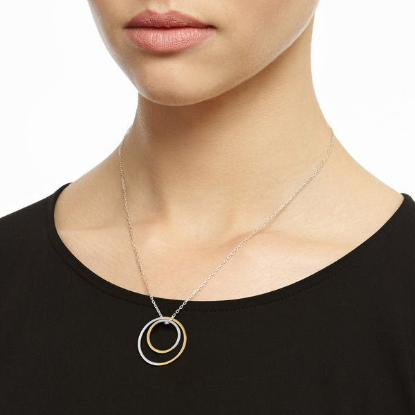 Two-tone Double Circle Necklace - 9k Yellow Gold & Silver - Myia Bonner Jewellery