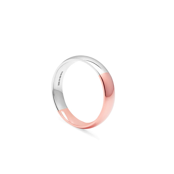 Two-tone Court 4mm Comfort Fit Band - 9k Rose & White Gold - Myia Bonner Jewellery