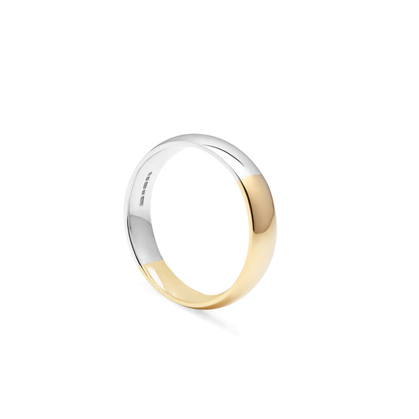 Two-tone Court 5mm Comfort Fit Band - 18k Yellow & White Gold - Myia Bonner Jewellery