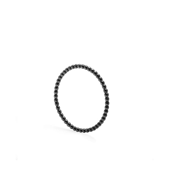 Skinny Sphere Stacking Ring - Oxidised Silver - Myia Bonner Jewellery