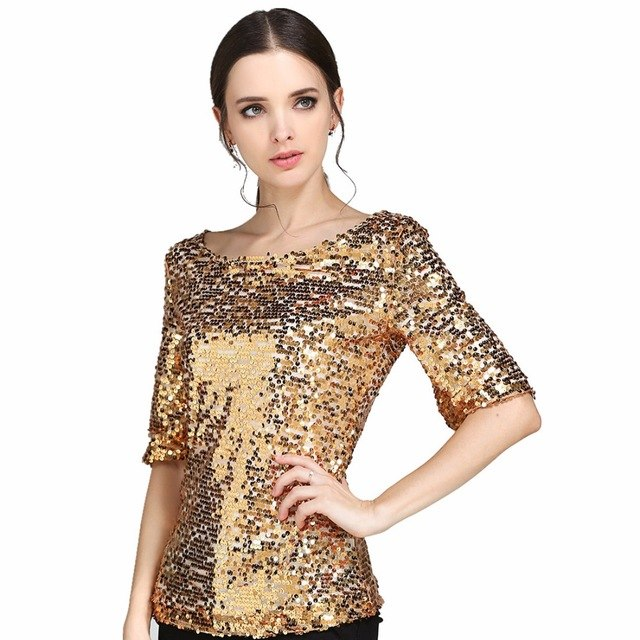 Women Blouses Sequin Embroidered Half-Sleeved Loose Casual Shirt Plus Size S-5Xl img 1