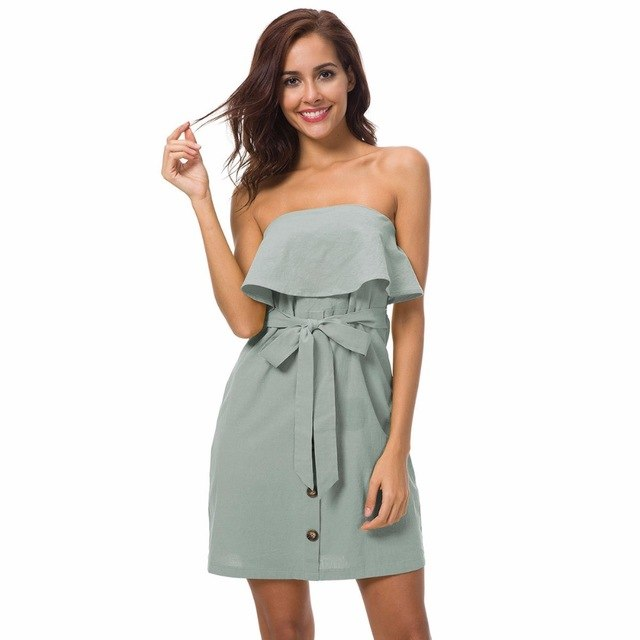 Summer Dress Cotton Hemp Women'S Wear Lotus Leaf Strapless Chest Dress Cascading Ruffle Bow Empire Dress img 1