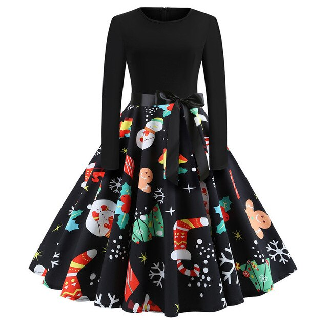 Winter Christmas Dresses Women Vintage Robe Swing Pinup Party Dress Long Sleeve Casual Plus Size Print Black img 1