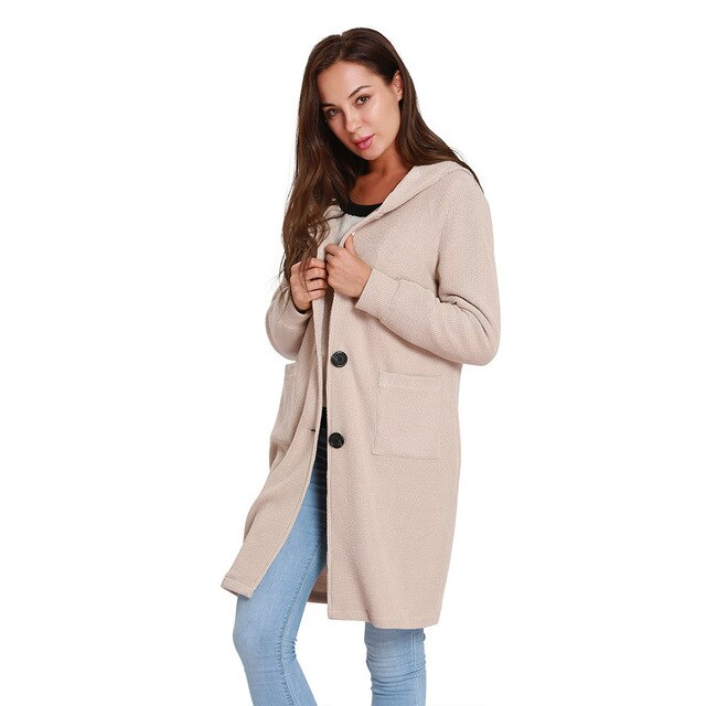 Autumn Winter Knitted Jacket Long Sleeved Hooded Windbreaker Long Coat img 1