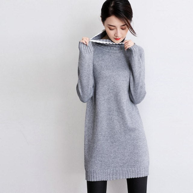 Winter Wool Cashmere Blending Long Women Dress Knitted Pullovers Tops White Edge High Collar Slim Warm Sweater img 1