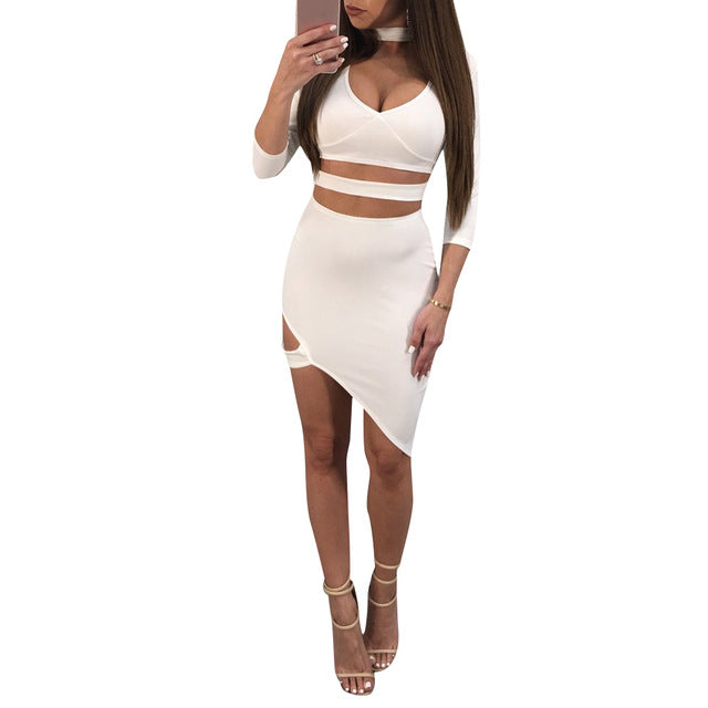 Women Cut Out Dress High Chocker Neck Bandage Asymmetric Mini Solid Laiy Night Clubwear Dress Vestidos Summer img 1