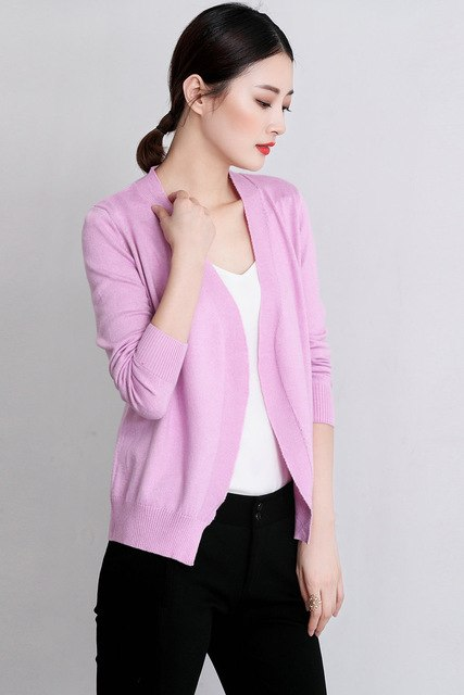 Spring Autumn Cashmere Blended Knitted Cardigan Back Kick Pleat Loose Long-Sleeve V-Neck Wool Cardigan Jacket img 1