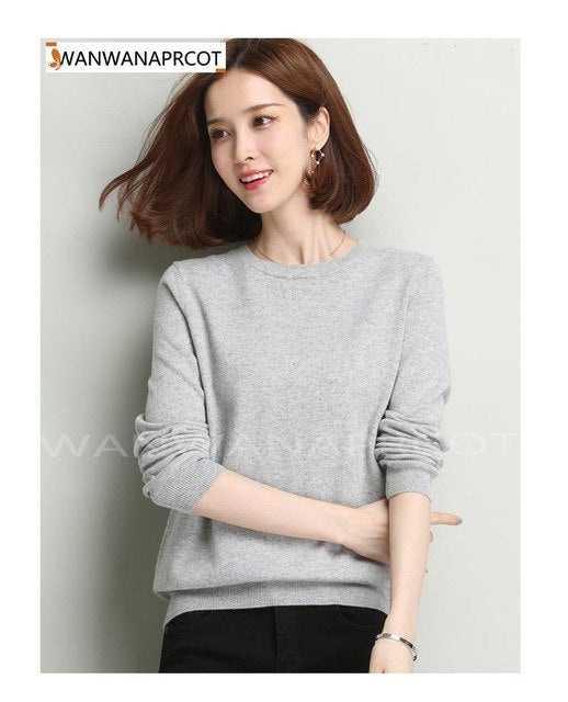 Sweater Women'S Knitted Cashmere Sweater Slim O-Neck Sweater Short Plus Size Pullover Basic Shirt img 1
