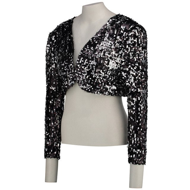 Vintage Women Cropped Blazer Bolero Shrug Clubwear Party Costumes Shiny Sequin V-Neck Short Vest Cardigan Jacket Coat img 1