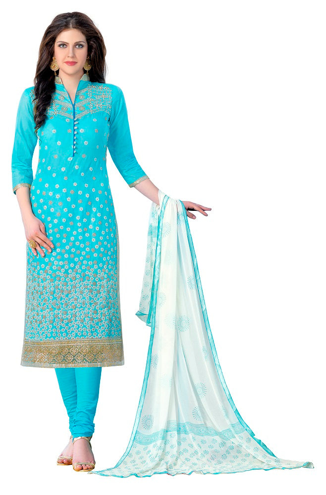 Sky Blue Cotton Embroidered Party Wear Salwar Suit Material