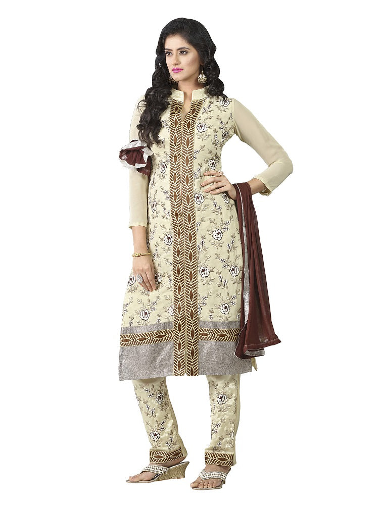Women's Women's Georgette Embroidered Dress Material (MDKYR01 Beige)