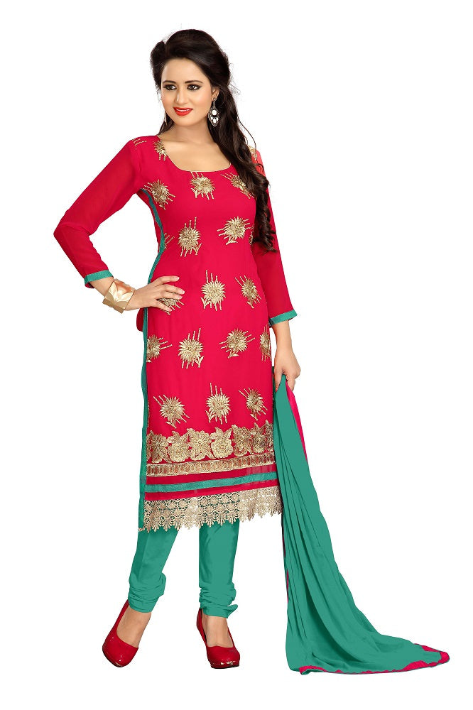 Women's Women's Georgette Embroidered Dress Material (LMAHK01 Red)