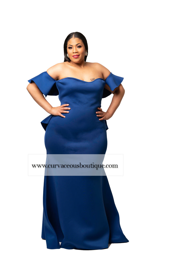 Royal Blue Angel Ruffle Rear Gown