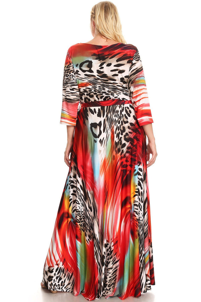 Extended Size Red Leopard Print Gabby Maxi Dress