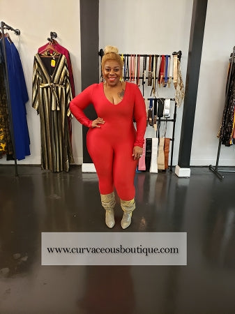 Red Leo Disco Catsuit